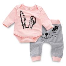 Bebê menina criança coelho impressão 2 PCS Set