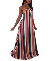 Vestido largo de espalda abierta con rayas sexy y cabestro colorido