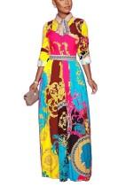 Vestido largo estampado africano colorido