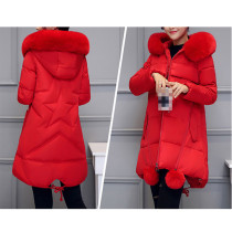 Plain Solid Stripes Long Hooded Fur Coat