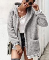 Abrigo largo polar con capucha polar con bolsillos