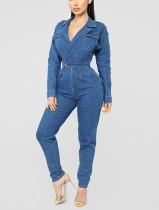 Tuta di jeans casual a maniche lunghe blu avvolgente