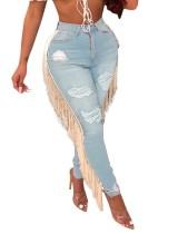 Jeans rasgados con borlas de cintura alta sexy