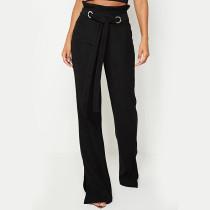 Calça casual de cintura alta com cinto