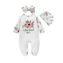 Conjunto de outono de impressão de flor de bebê menina 3 PCS
