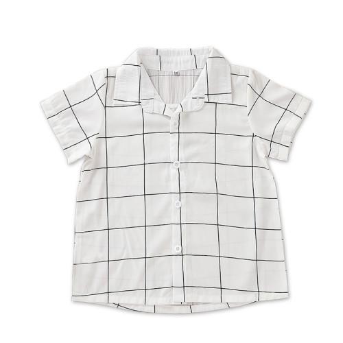 Kinder Boy Plaid Print kurzen Ärmeln Shirt