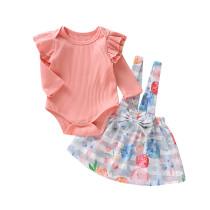 Conjunto de saia de outono de impressão de menina de crianças