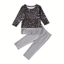 Conjunto de calças de manga comprida para crianças menina leopardo