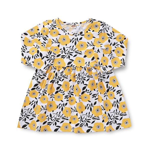 Vestido infantil de verão com estampa de flores para meninas