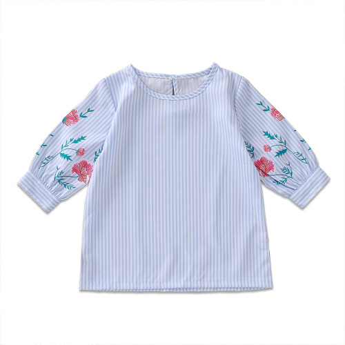 Kids Girl Stripes Print Langarm Blumenhemd