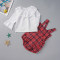 Baby Girl Plaid White and Red 2 PCS Fall Set