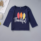 Conjunto de otoño de manga larga con estampado de flores para niña