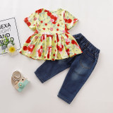 Camisa y jeans florales para niña
