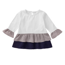 Camicia a strati a contrasto manica lunga per bambina