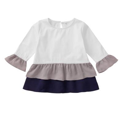 Camisa de manga larga en contraste para niña
