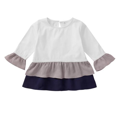 Kinder Mädchen Langarm Kontrastschicht Shirt