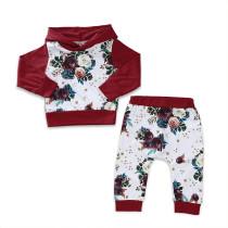 Traje de sudadera con capucha y manga larga con estampado de flores, niña, niños