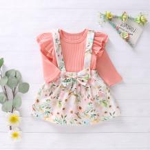 Conjunto de saia de outono de impressão de flor de menina bebê