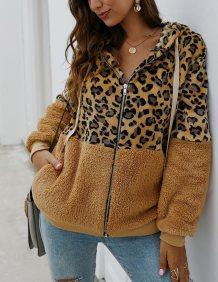 Leopard Print Polar Fleece Zipper Hoodies