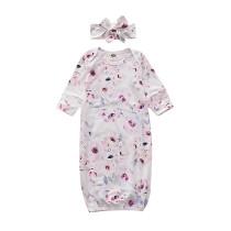 Bebê menina flor impressão manga longa saco de dormir com bandana