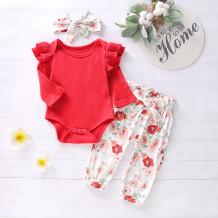 Conjunto de outono de impressão de flor de bebê menina 2 PCS