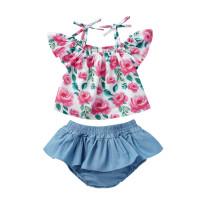 Conjunto de PC 2 de verano con estampado de flores para niña