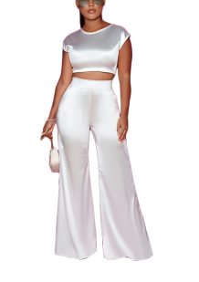 Sexy Smooth Crop Top and High Waist Pants Set