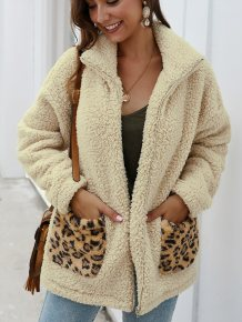 Leopard Print Polar Fleece Zipper Coat