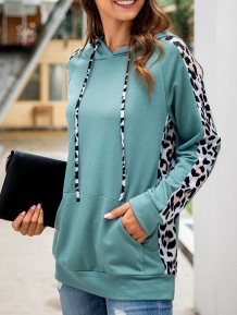 Leopard Print Hoodies with Front Pocket