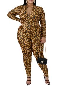 Plus Size Leopard Print Zipper Bodycon Jumpsuit