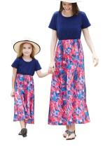 Vestido largo de fiesta de manga corta con estampado de mamá y yo para niñas