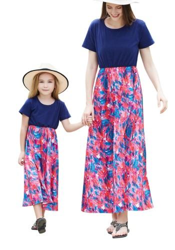 Mommy and Me Принт с длинным рукавом и праздничным платьем для девочек