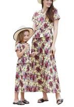 Платье для девочек с короткими рукавами и цветочным принтом Mommy and Me