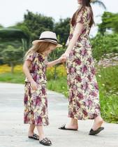 Mama und ich Blumendruck mit kurzen Ärmeln Langes Urlaubskleid für Mama