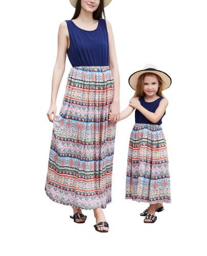 Длинное платье без рукавов с принтом Mommy and Me Bohemain для девочек