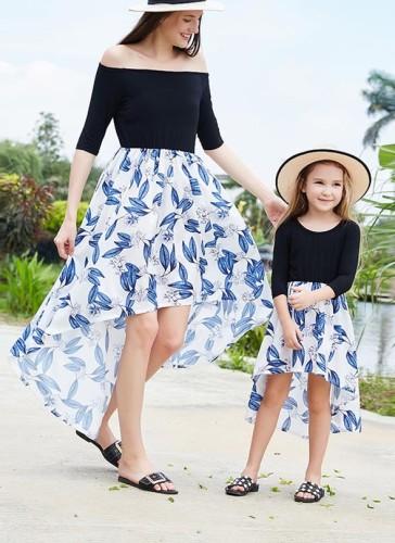 Mommy and Me Принт Высокий Низкий Длинное Праздничное Платье для Девочек