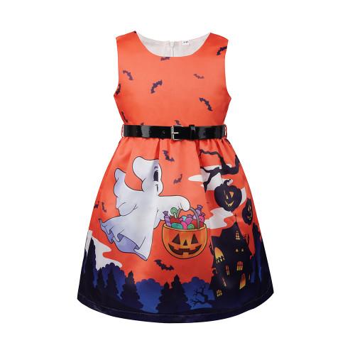 Детское хеллоуинское платье с поясом