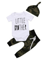 Baby Boy Camou Print Summer Rompers + Pantalones + Sombrero