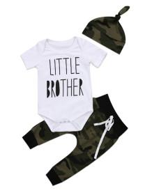 Pagliaccetti + pantaloni + cappello estivi con stampa mimetica baby boy