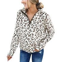 Leopard Print Strand Collar Sweat Shirt