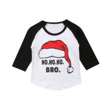 Camisa de Navidad con cuello redondo y estampado para niños