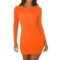 Mini vestido de punto de color liso