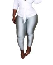 Leggings metálicos ajustados sexys grises