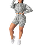 Snake Skin Print Drawstrings Hoody and Shorts