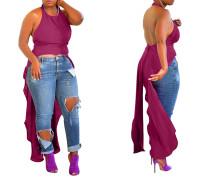 Afrikanisches rückenfreies High Low Sexy Neckholder Top