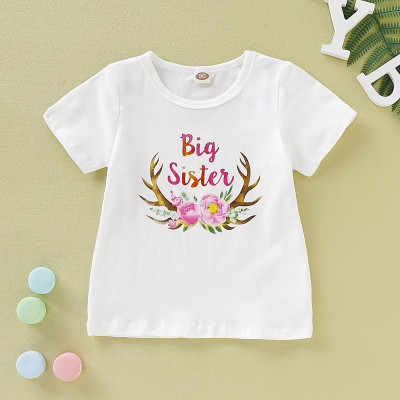 Camisa de verano con cuello redondo y estampado para niña