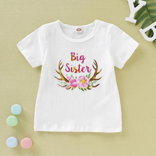 Kids Girl Print Rundhals Sommer Shirt