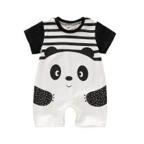 Baby Boy Panda Print kurzen Ärmeln Strampler