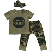 Camicia + pantaloni + fascia estiva per bambini Camou Print