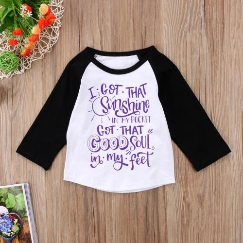 Kinder Unisex Print Rundhals Herbst Shirt